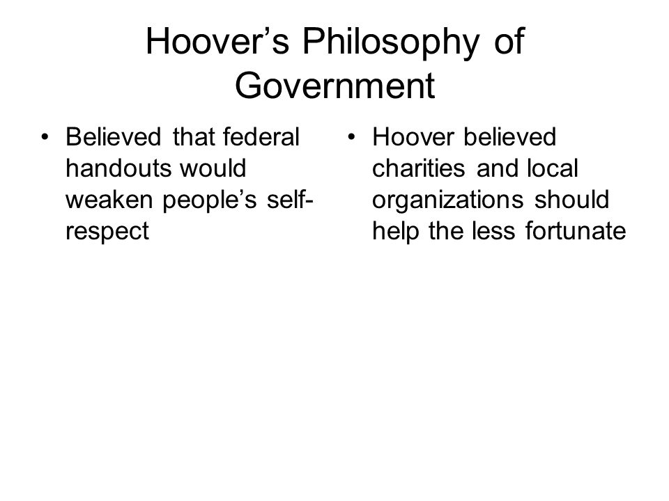 Hoover's Philosophy of Government