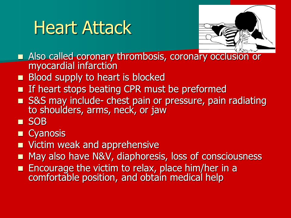 Heart Attack Also called coronary thrombosis, coronary occlusion or myocardial infarction. Blood supply to heart is blocked.