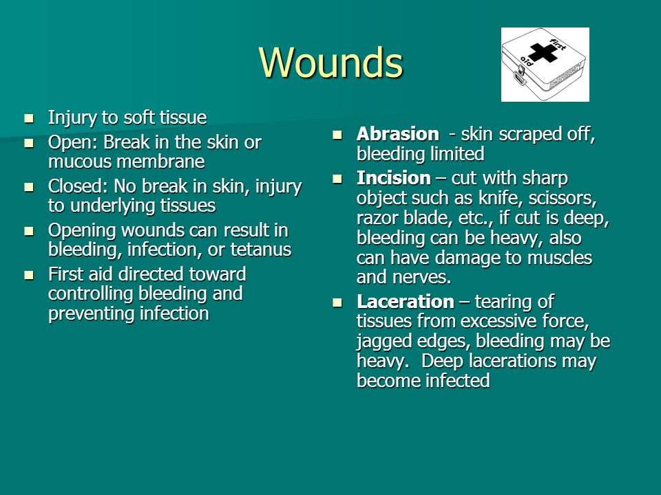 Wounds Injury to soft tissue