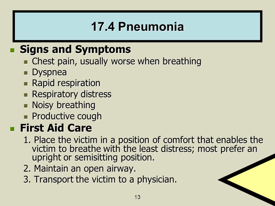17.4 Pneumonia Signs and Symptoms First Aid Care