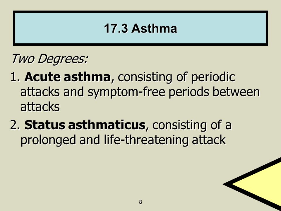17.3 Asthma Two Degrees: 1. Acute asthma, consisting of periodic attacks and symptom-free periods between attacks.