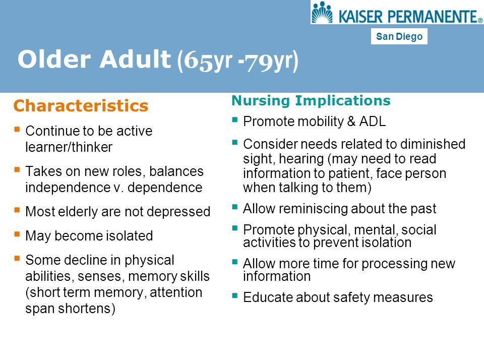 Older Adult (65yr -79yr) Characteristics