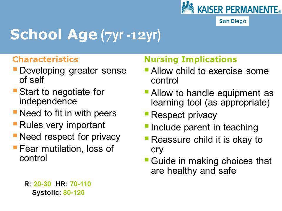 School Age (7yr -12yr) Developing greater sense of self