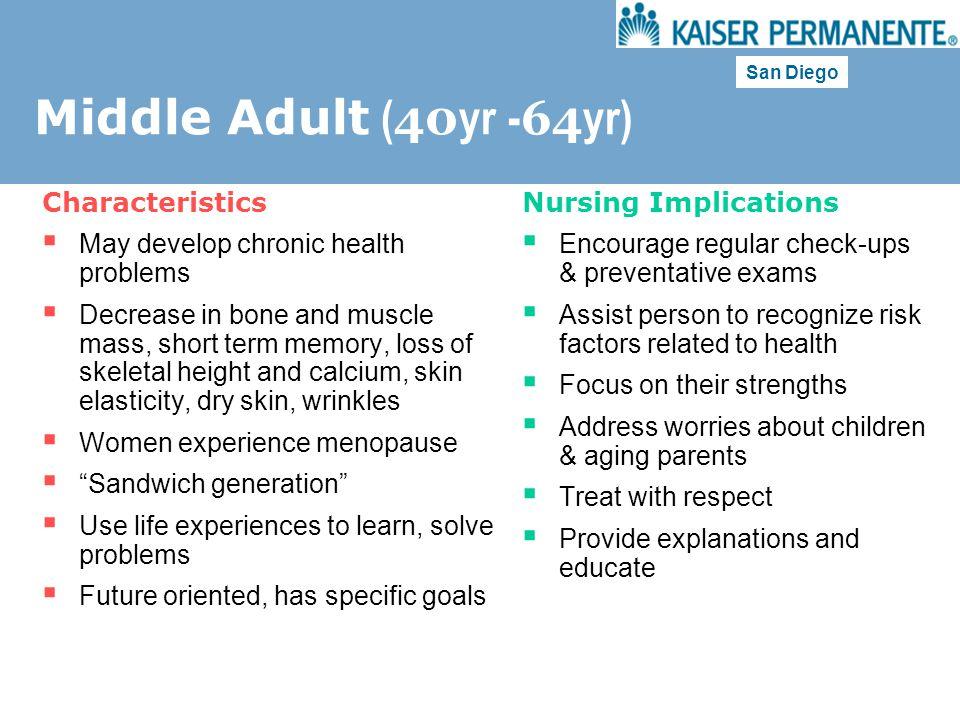 Middle Adult (40yr -64yr) Characteristics