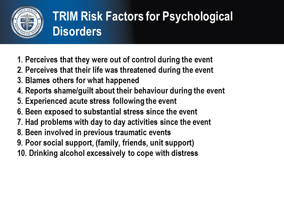 TRIM Risk Factors for Psychological Disorders
