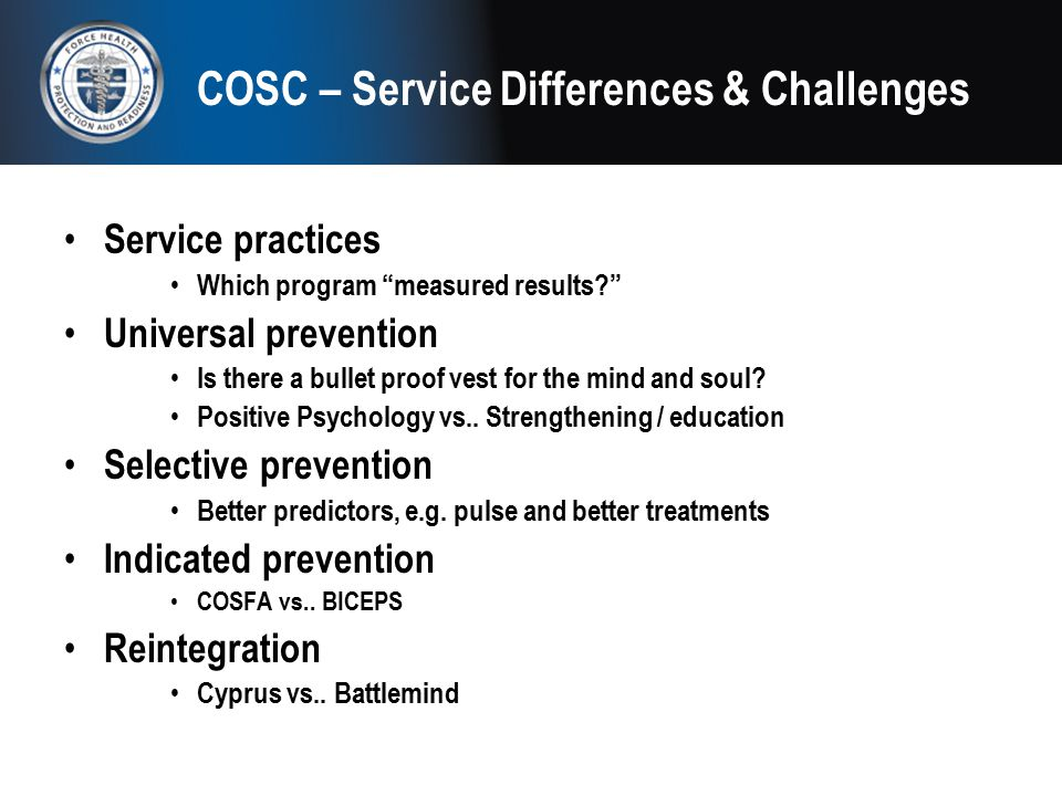 COSC – Service Differences & Challenges