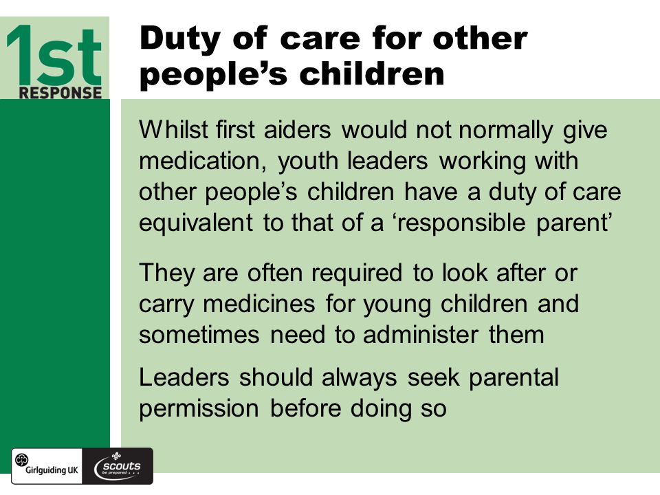 Duty of care for other people's children