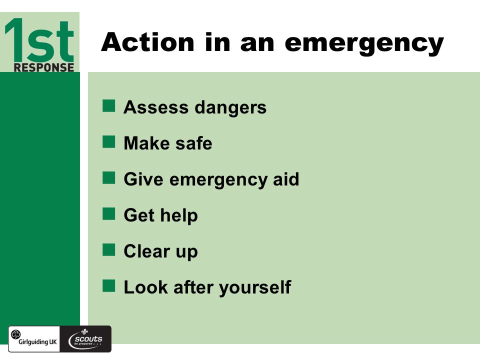 Action in an emergency Assess dangers Make safe Give emergency aid