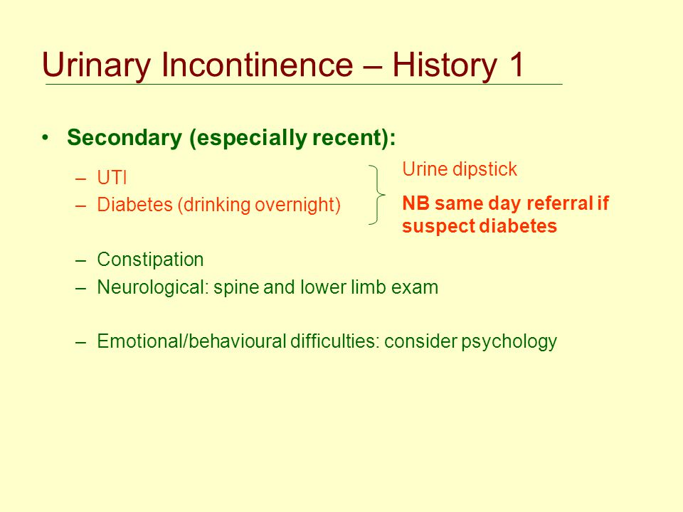 Urinary Incontinence – History 1