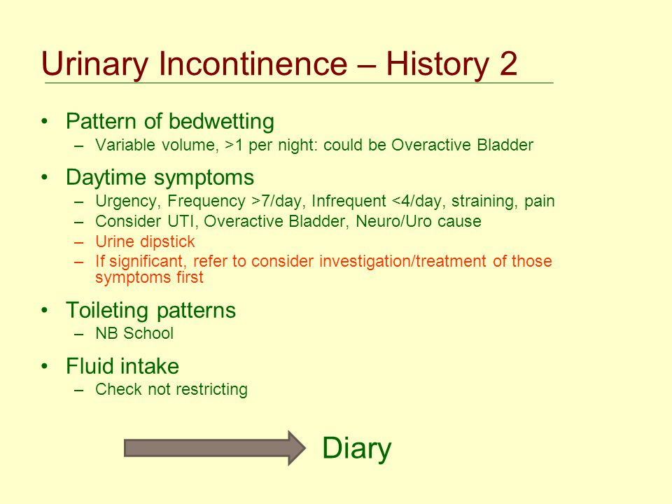 Urinary Incontinence – History 2