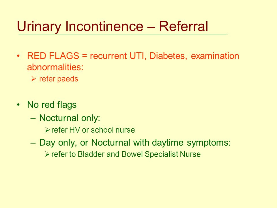 Urinary Incontinence – Referral