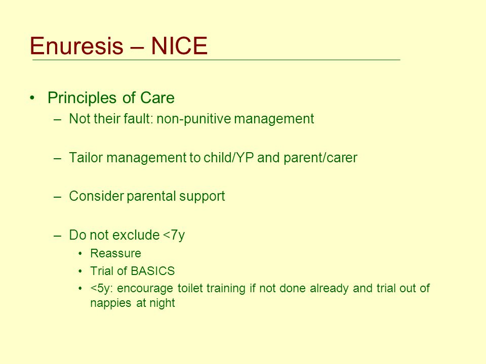Enuresis – NICE Principles of Care