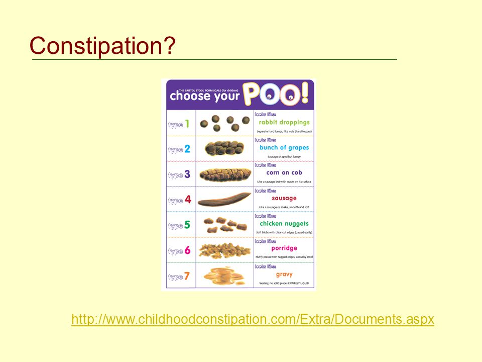 Constipation http://www.childhoodconstipation.com/Extra/Documents.aspx