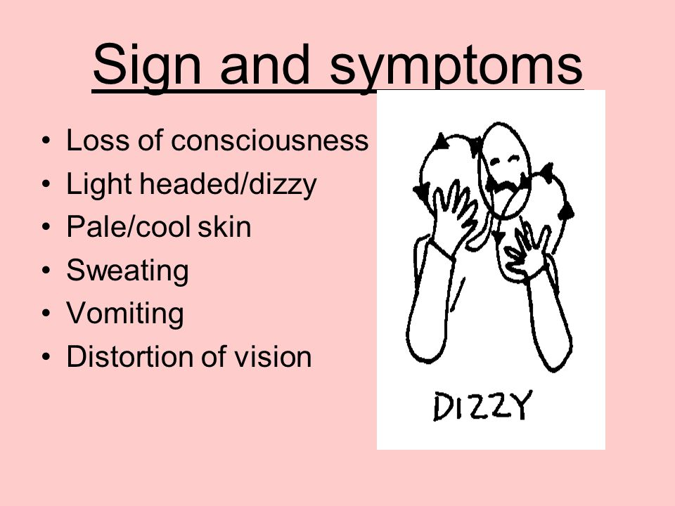 Sign and symptoms Loss of consciousness Light headed/dizzy