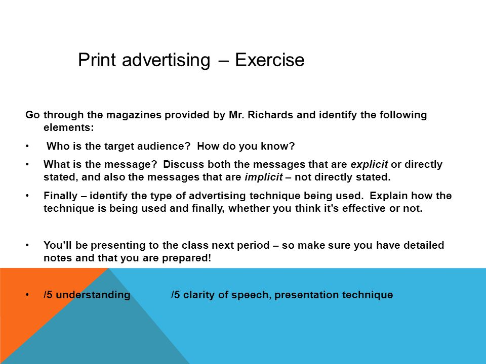 Print advertising – Exercise