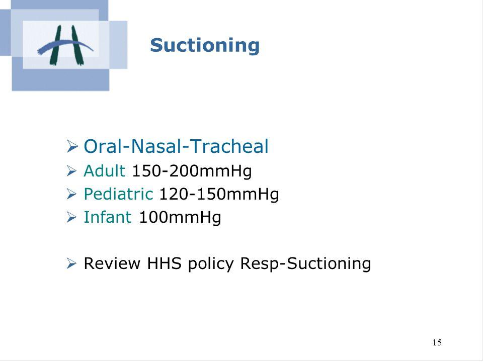 Suctioning Oral-Nasal-Tracheal Adult 150-200mmHg Pediatric 120-150mmHg