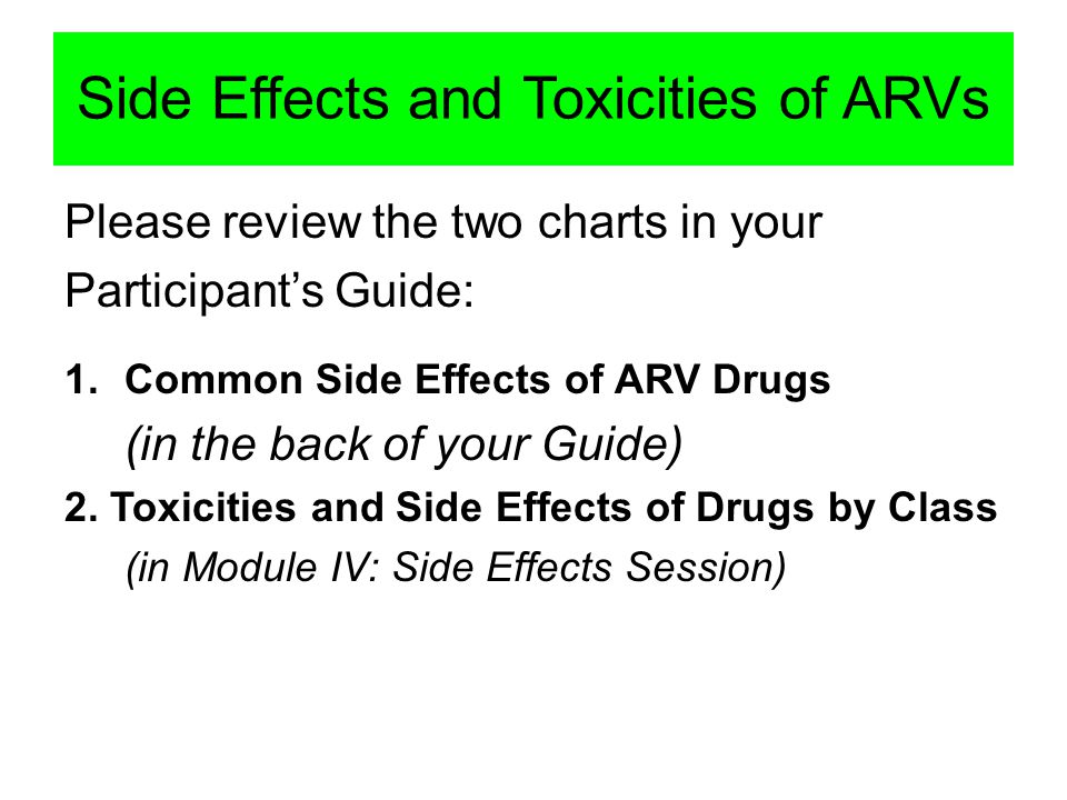 Side Effects and Toxicities of ARVs