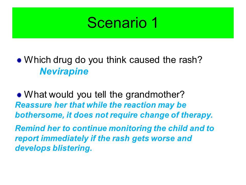 Scenario 1 Which drug do you think caused the rash Nevirapine