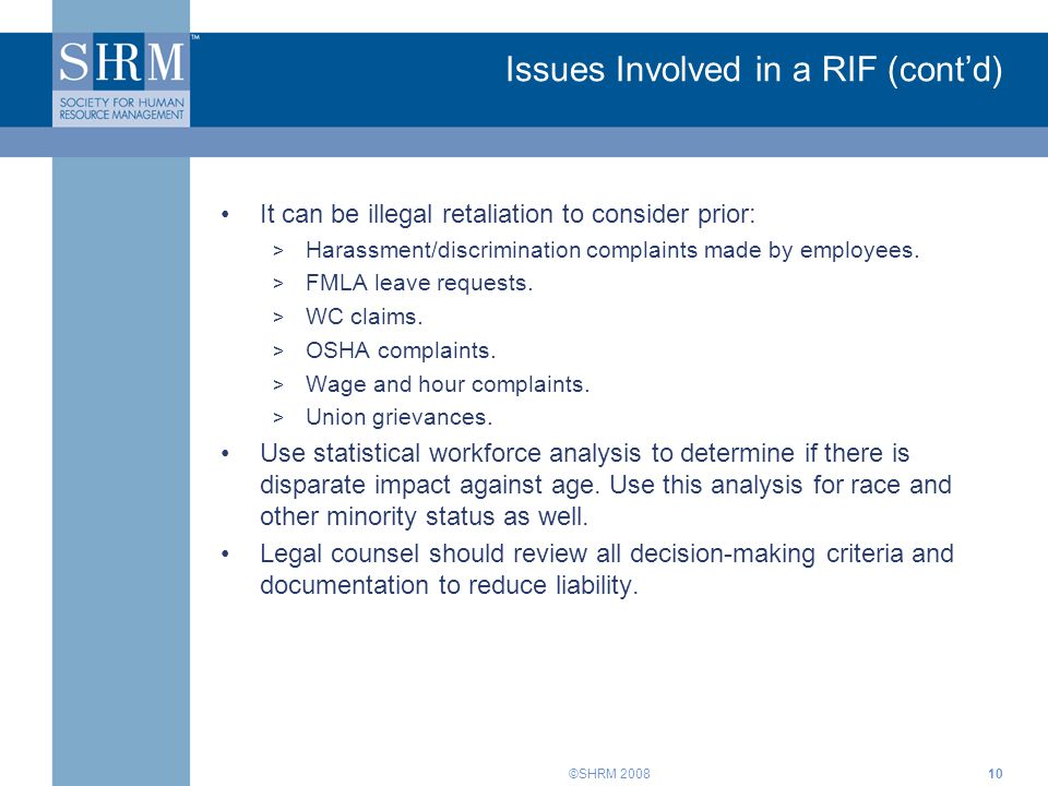 Issues Involved in a RIF (cont'd)