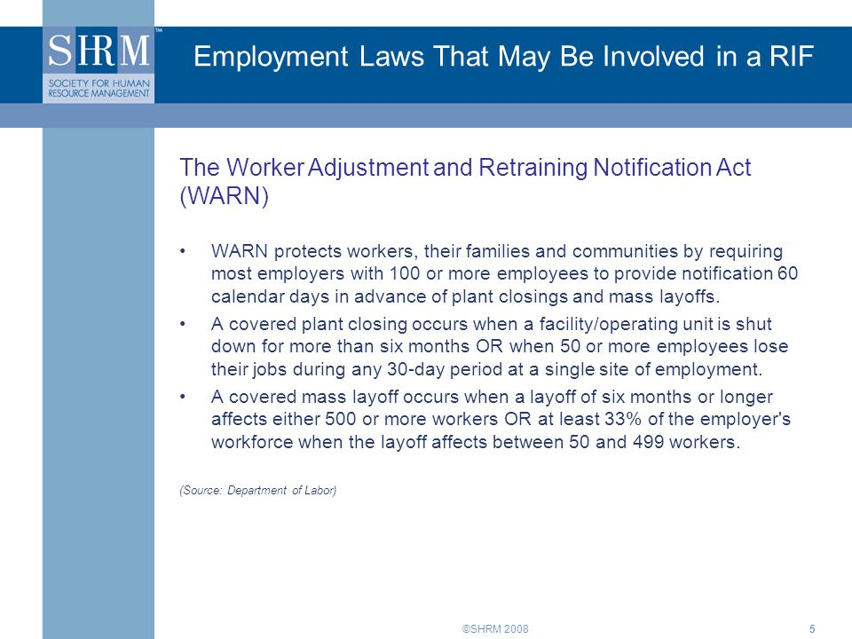 Employment Laws That May Be Involved in a RIF