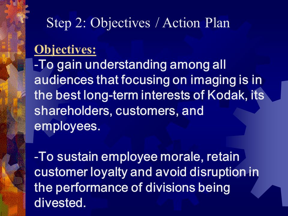 Step 2: Objectives / Action Plan
