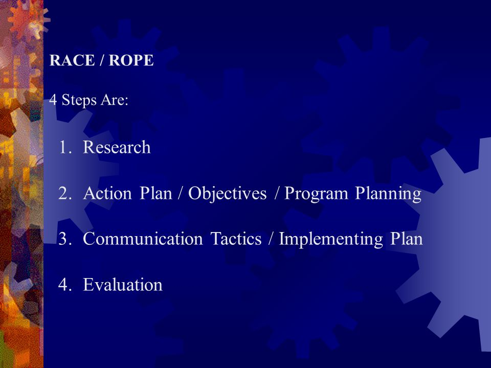 Action Plan / Objectives / Program Planning