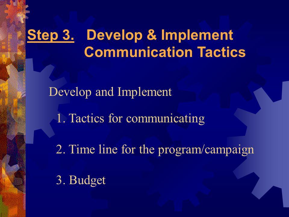 Step 3. Develop & Implement Communication Tactics