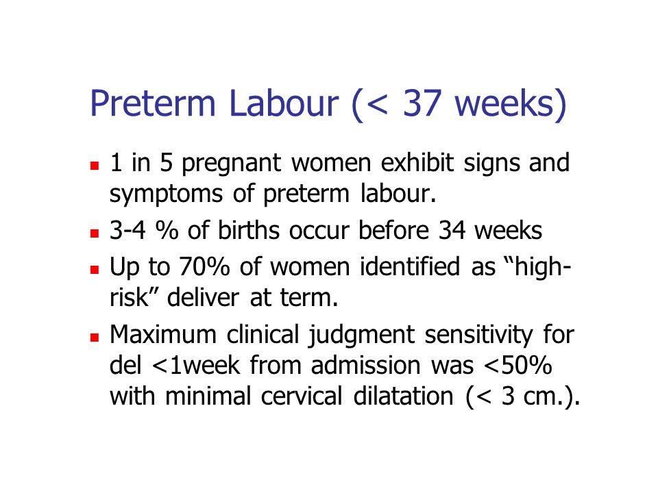 Preterm Labour (< 37 weeks)