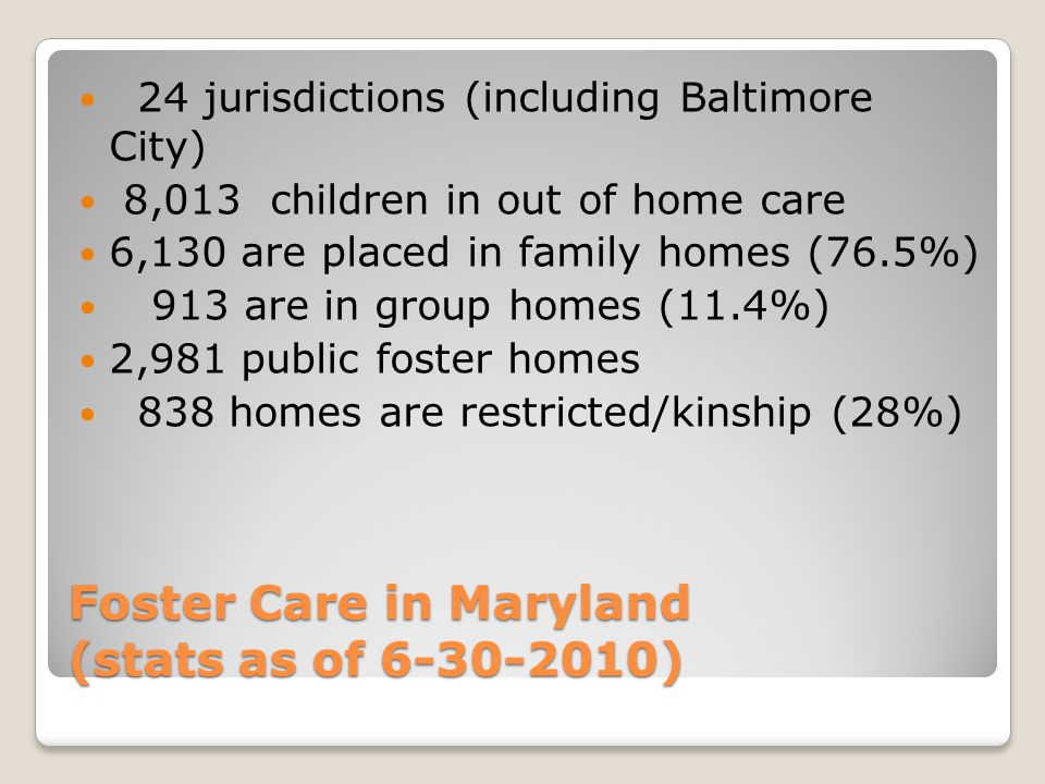 Foster Care in Maryland (stats as of 6-30-2010)