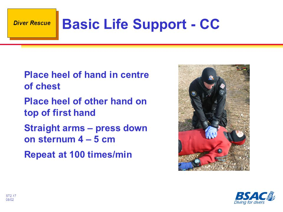Basic Life Support - CC Place heel of hand in centre of chest