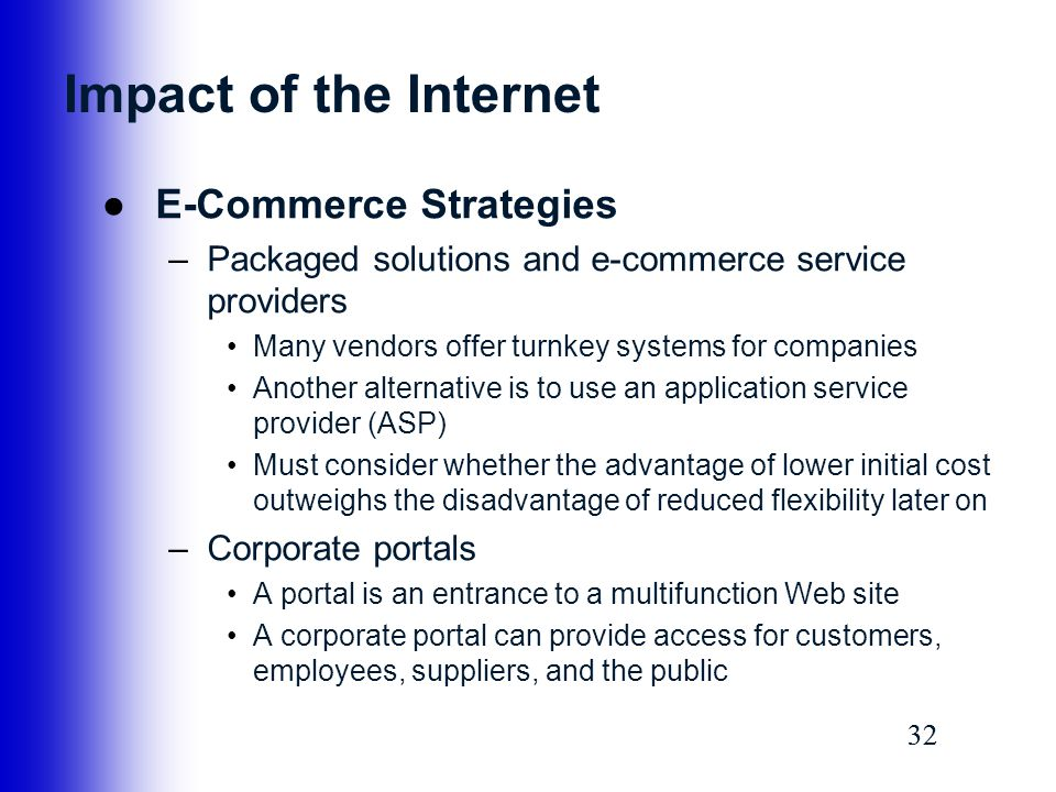 Impact of the Internet E-Commerce Strategies