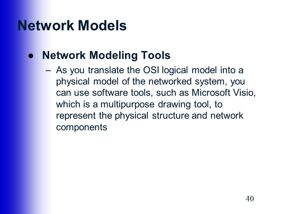 Network Models Network Modeling Tools