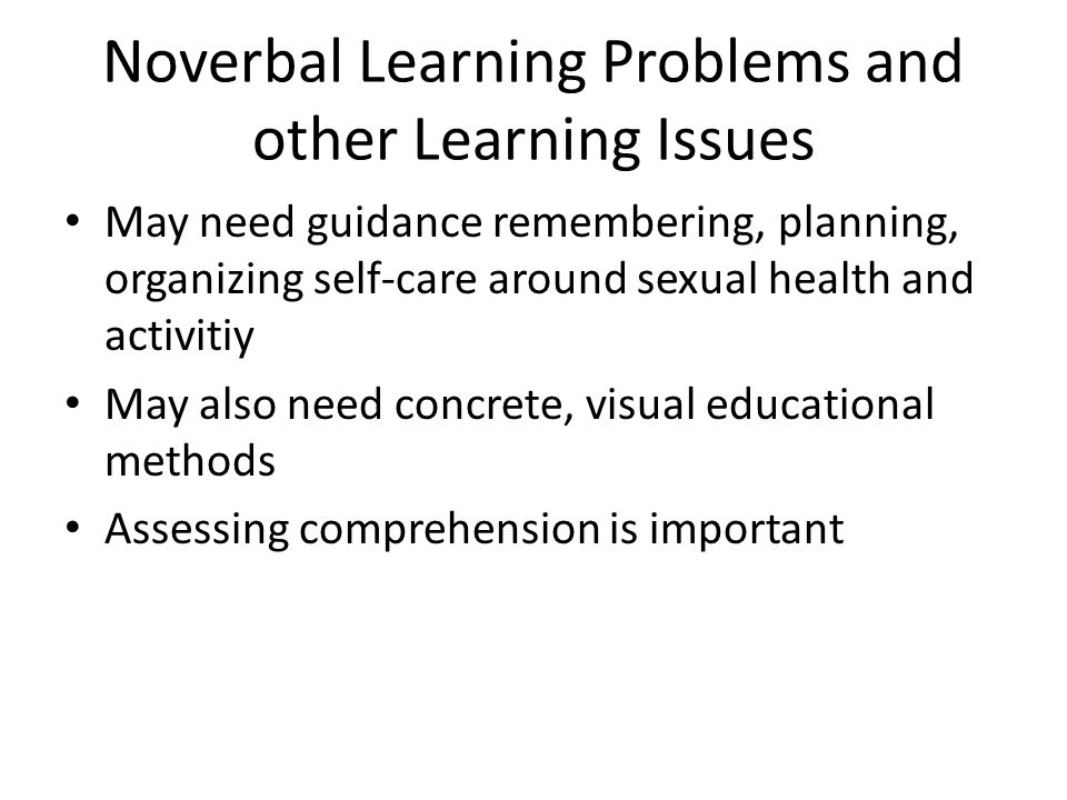 Noverbal Learning Problems and other Learning Issues