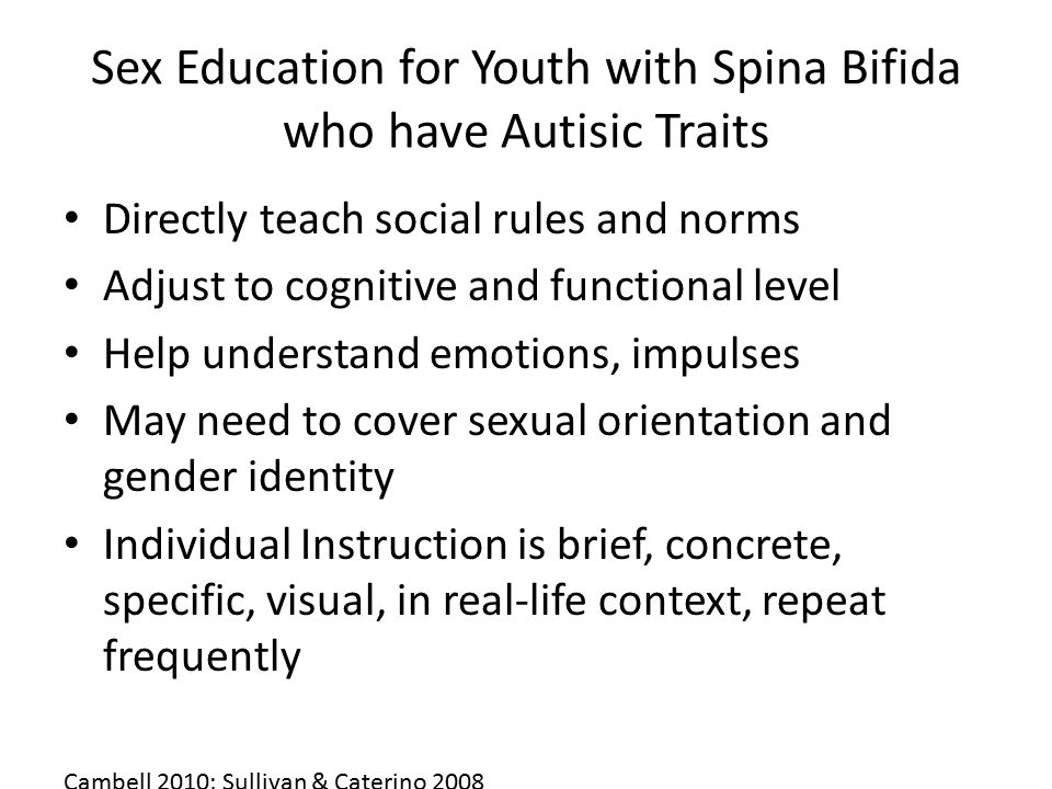 Sex Education for Youth with Spina Bifida who have Autisic Traits