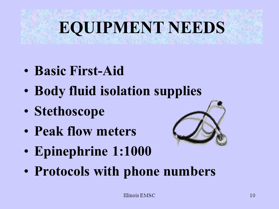 EQUIPMENT NEEDS Basic First-Aid Body fluid isolation supplies