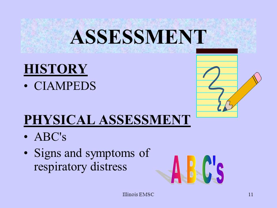 ASSESSMENT HISTORY PHYSICAL ASSESSMENT A B C s CIAMPEDS ABC s