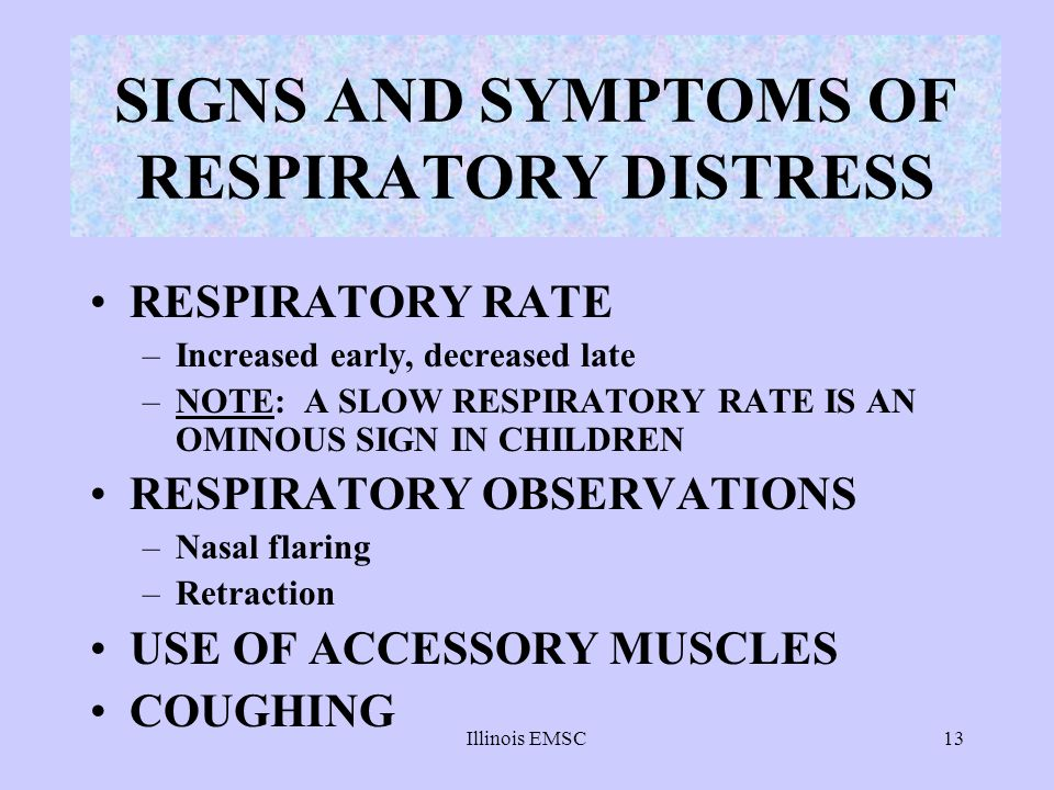 SIGNS AND SYMPTOMS OF RESPIRATORY DISTRESS