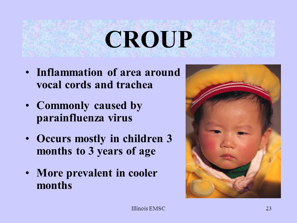 CROUP Inflammation of area around vocal cords and trachea