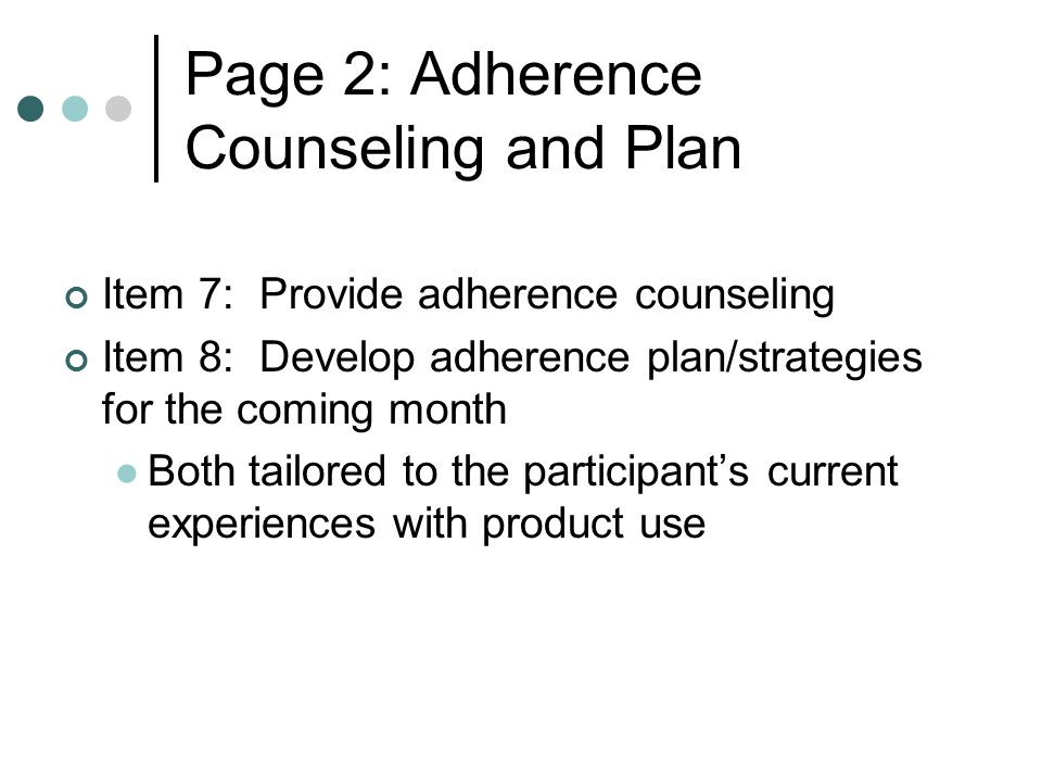 Page 2: Adherence Counseling and Plan
