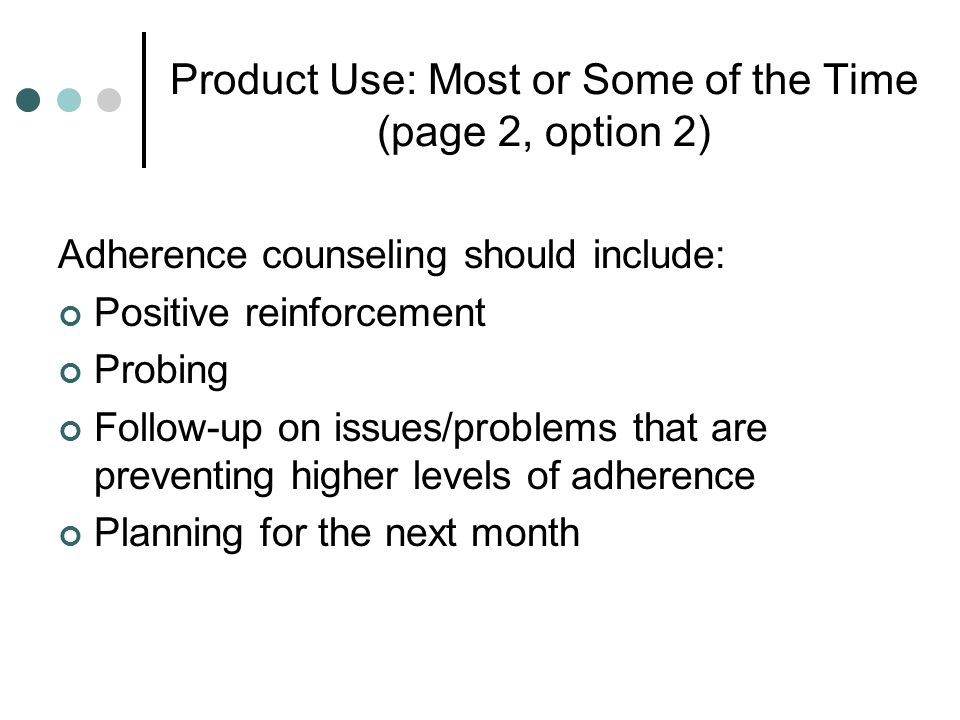 Product Use: Most or Some of the Time (page 2, option 2)