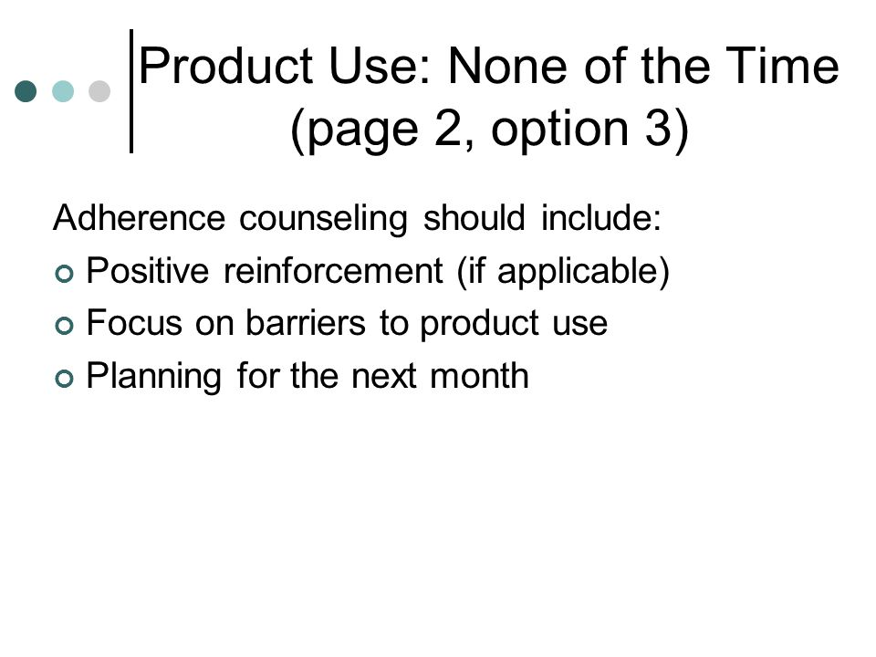 Product Use: None of the Time (page 2, option 3)