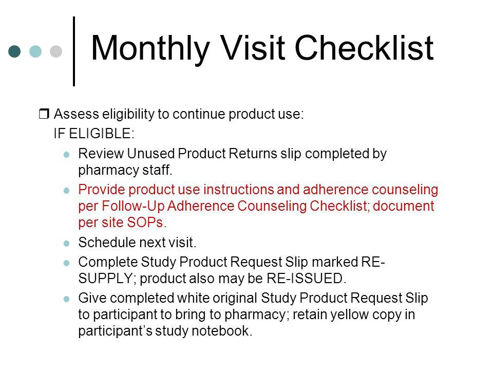 Monthly Visit Checklist