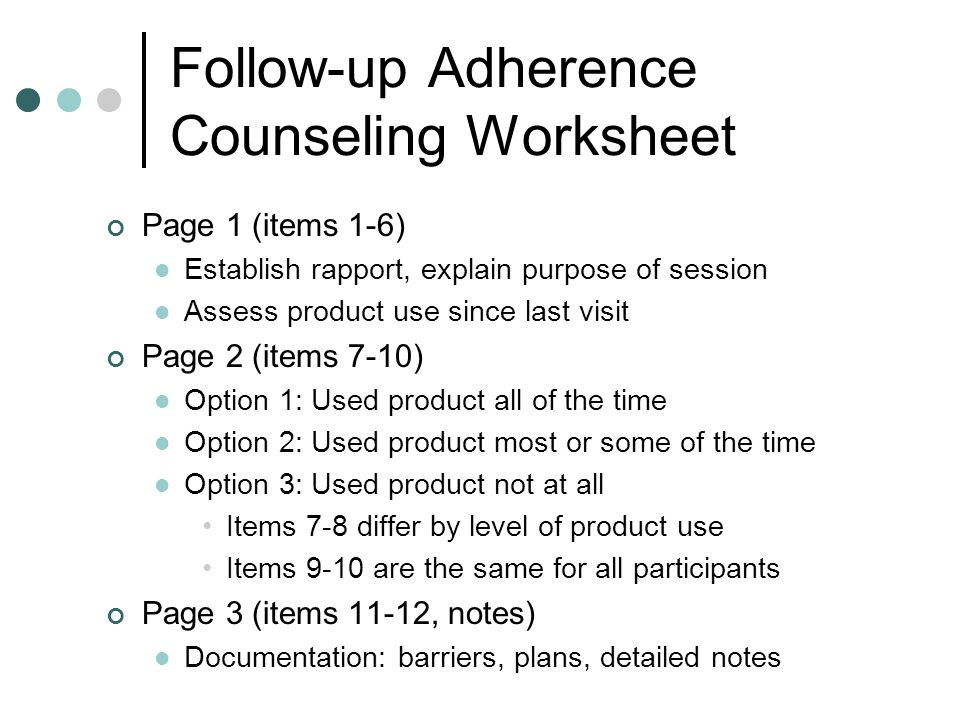 Follow-up Adherence Counseling Worksheet