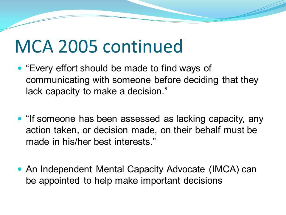 MCA 2005 continued