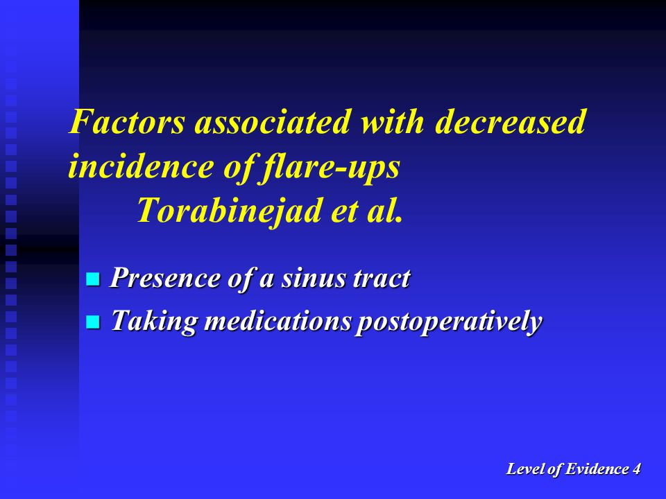 Factors associated with decreased incidence of flare-ups