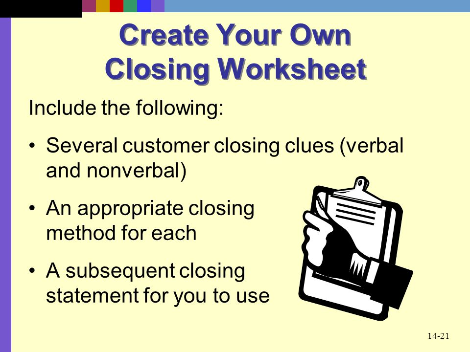 Create Your Own Closing Worksheet