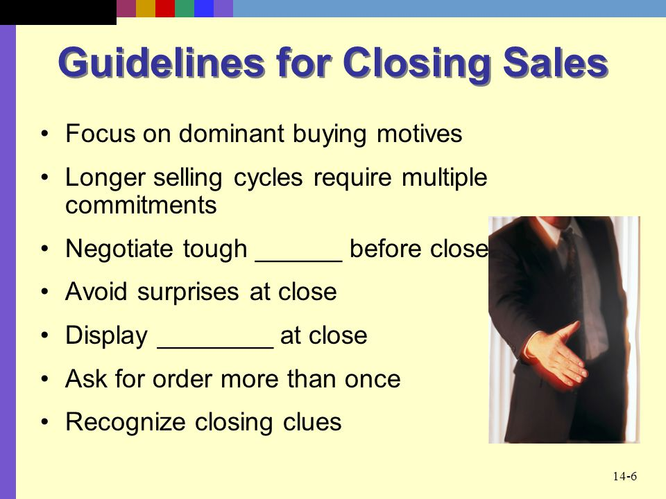 Guidelines for Closing Sales