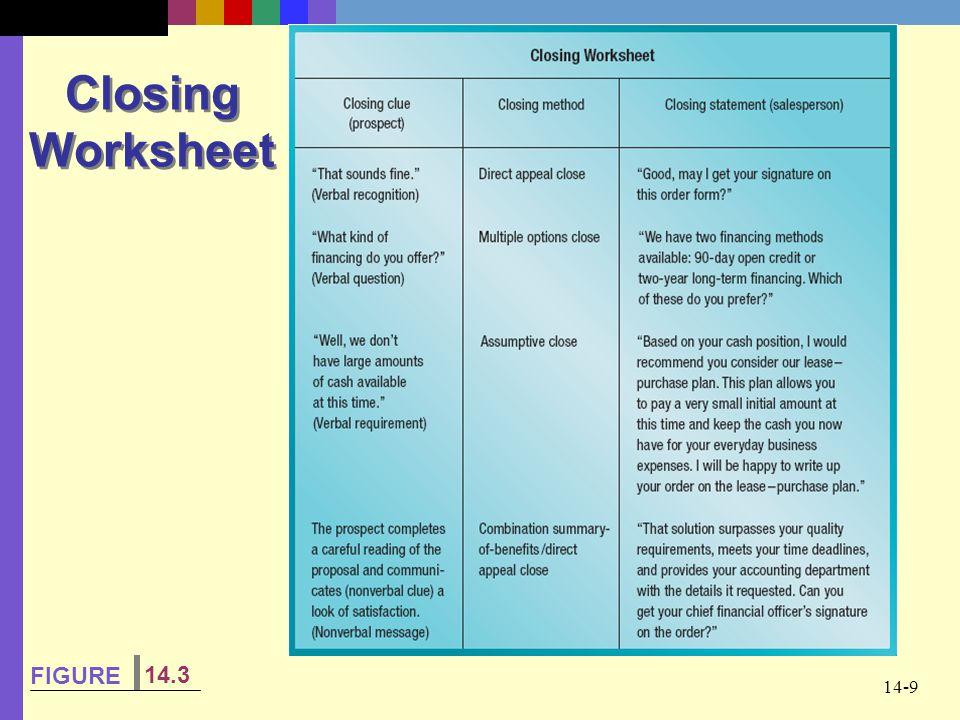 Closing Worksheet FIGURE 14.3