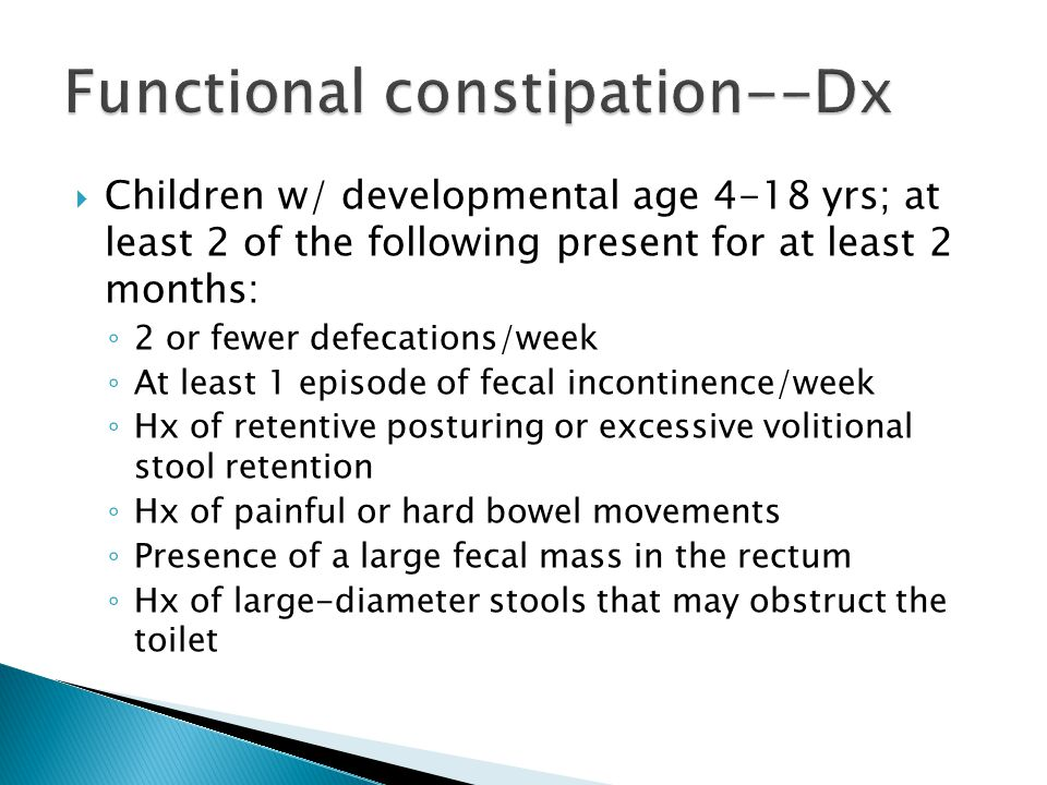 Functional constipation--Dx
