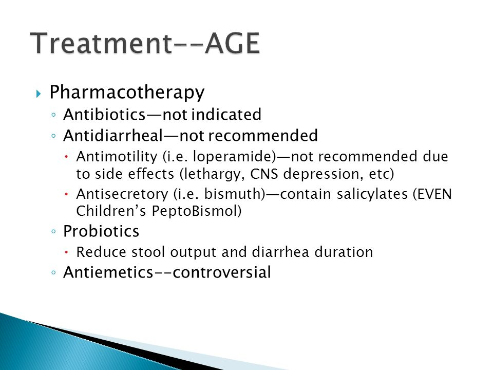 Treatment--AGE Pharmacotherapy Antibiotics—not indicated